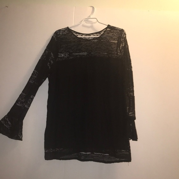 Long Sleeve Michel Studio Black Lace Top